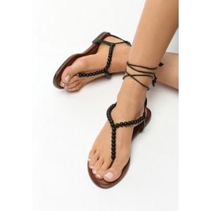 Čierne sandále nízke so šnúrkami