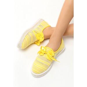 Espadrilky v žltej farbe s mašličkou