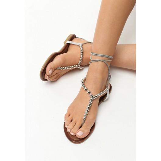 Strieborné sandále gladiátorky s korálkami
