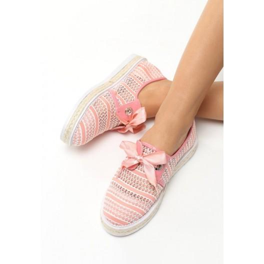 Háčkované tenisky pre dámy v ružovej farbe