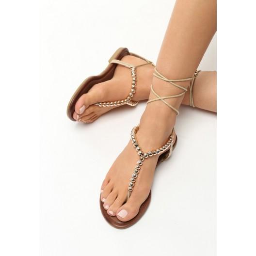 Zlaté sandále na leto na šnúrovanie