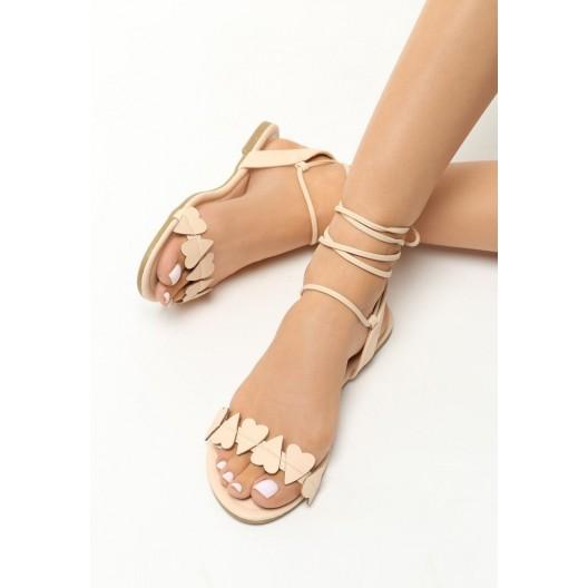 Béžové sandále s viazaním