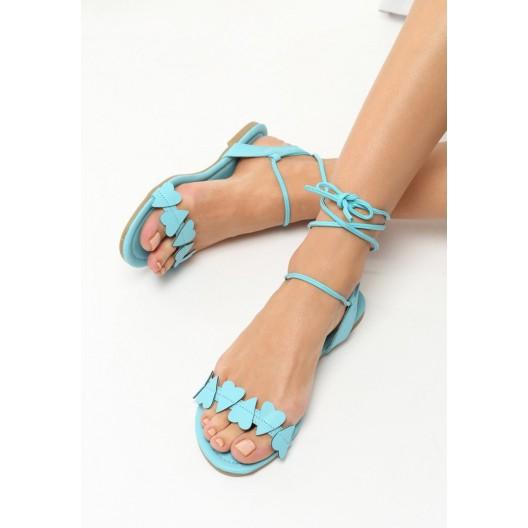 Gladiátorky topánky modrej farby so srdiečkami
