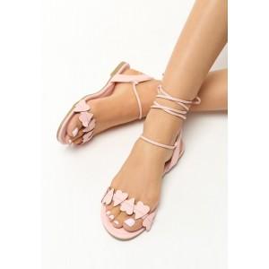 Ružové sandále gladiátorky na rovnej podrážke