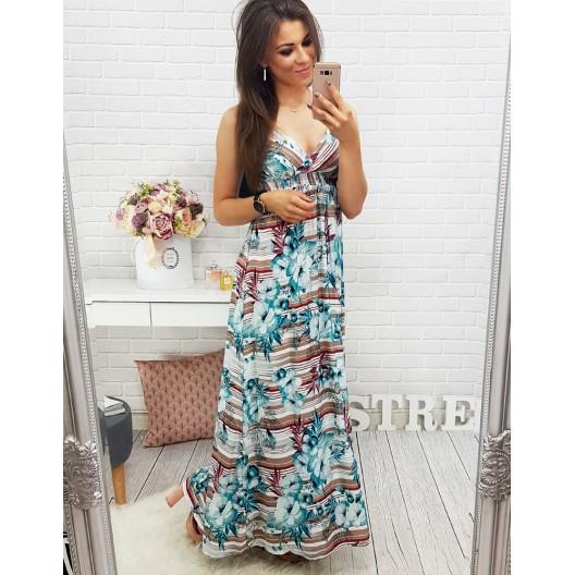 Kvetované šaty tyrkysovej farby