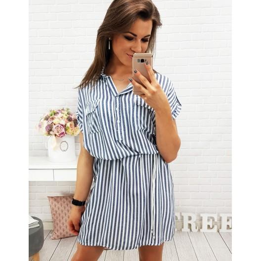 Krátke šaty bielo modrej farby