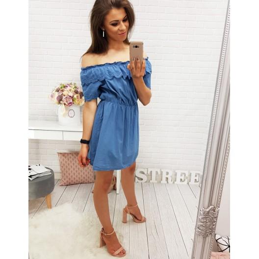 Modré šaty krátke bez remienok