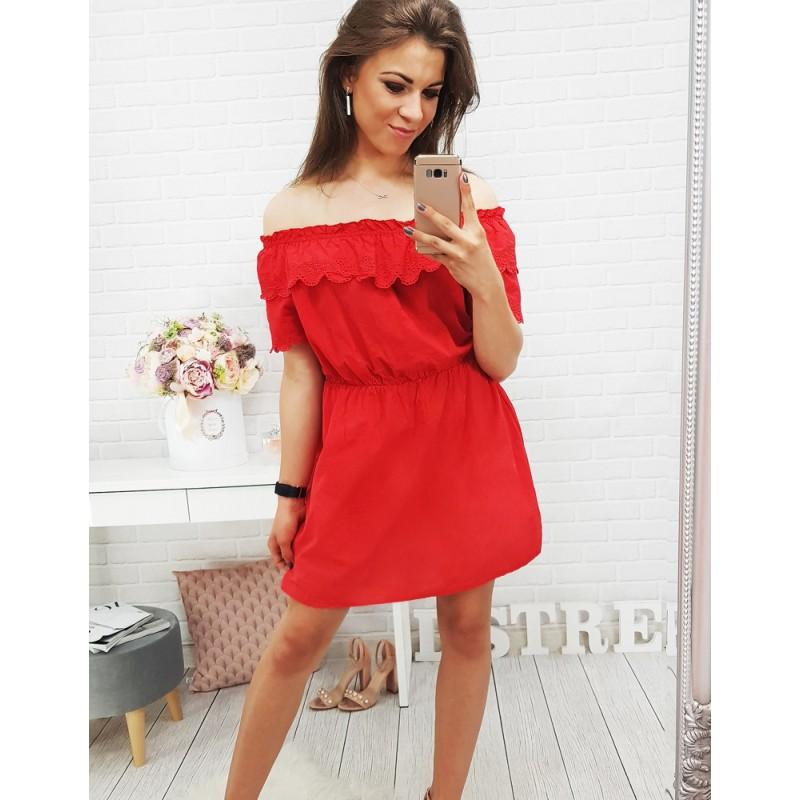 b7d9be547d2a Krátke červené šaty bez remienok
