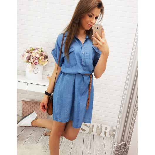 Dievčenské letné šaty modrej farby