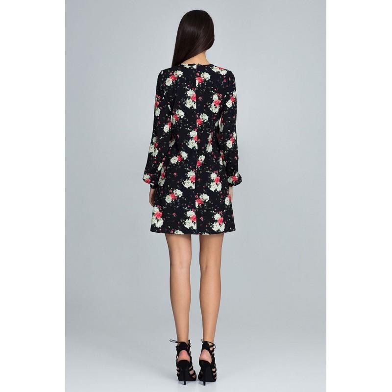 a3924e479a28 Kvetované šaty čiernej farby s dlhým rukávom