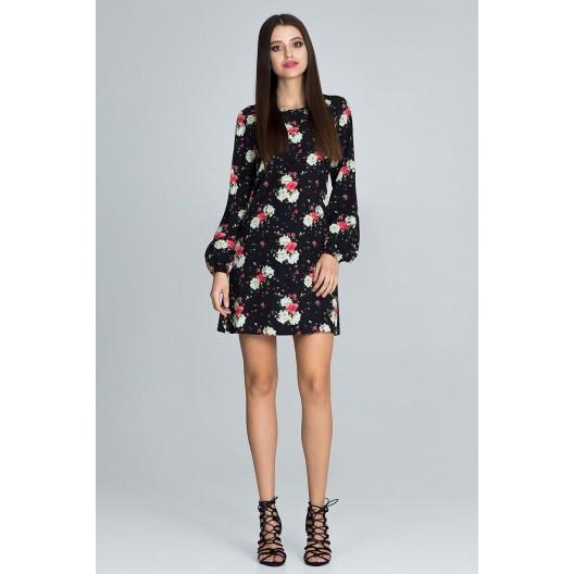 Kvetované šaty čiernej farby s dlhým rukávom