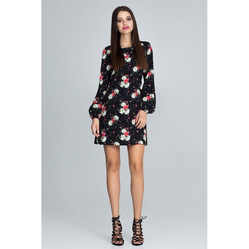 Kvetované šaty čiernej farby s dlhým rukávom 0fcc3e09e5b