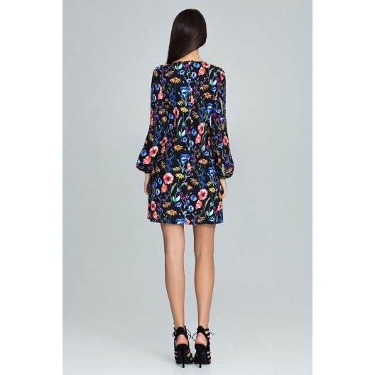 Čierne šaty s dlhým rukávom a kvetmi
