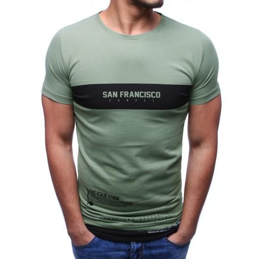 Tričko s nápisom zelenej farby